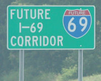 Future I-69 Corridor sign on U.S. 51 near Dyersburg, Tennessee.